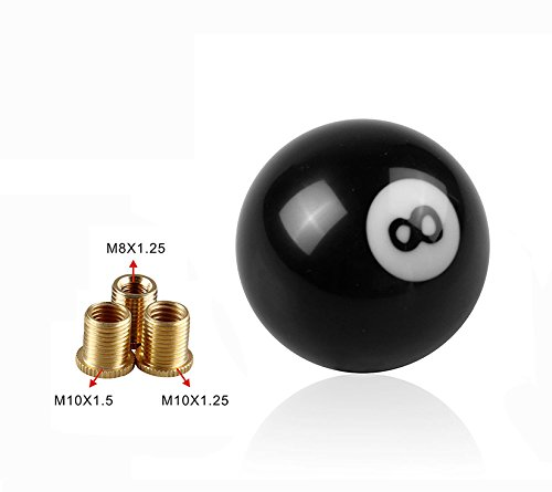 M10*1.5 M12*1.25 Black 8 Ball Model 52mm Acrylic Racing Auto Gear Shift Knob for Manual Short Throw Gear Shifter Universal fit for M8*1.25 M10*1.25