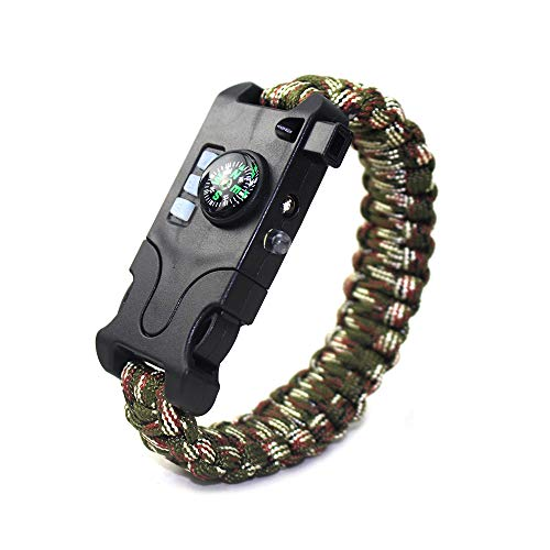 VISUAL KEI Paracord Bracelet Survival Rechargeable Survival Wirst with LED Flashlight,Compass,Emergency Loud Whistle,Laser Infrared Bracelet for Hiking, Camping, Fishing,Climbing (Green Camouflage)