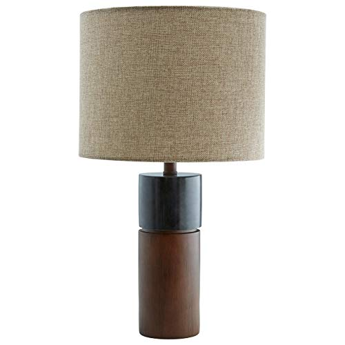 (Rivet Mid-Century Modern Living Room Table Desk Lamp With LED Light Bulb - 8 x 8 x 18 Inches, Walnut Wood and Black Marble)