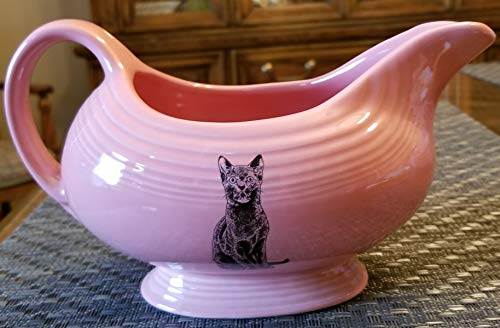 Sauceboat Gravy Boat - Rose Pink w/Black Cat - Fiesta Made in the USA - Retired Color ()