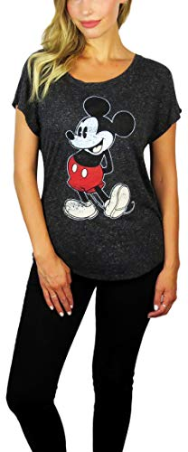 Disney Womens Mickey Mouse Stand Scoop Neck Doleman Tee (Charcoal Heather, X-Large) ()