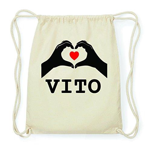 JOllify VITO Hipster Turnbeutel Tasche Rucksack aus Baumwolle - Farbe: natur Design: Hände Herz