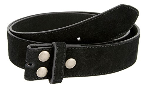 Suede Genuine Leather Casual Jean Belt Strap for Women (Black, 34)