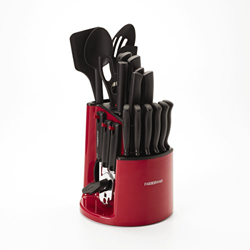 Farberware 5150386 30-Piece Spin-and-Store Knife and Kitchen Tool Set with Rotating Storage Caddy, Red