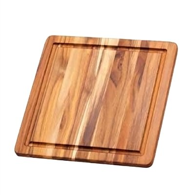 Cutting 12 Board Square (Cutting Board With Juice Canal - Square Teak Wood Serving Board (12 x 12 x .55 in.) - By Teakhaus)