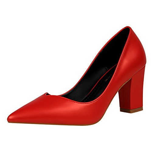 AalarDom Womens Pointed-Toe Pull-On Pu Solid High-Heels Pumps-Shoes Red UkBfiQT8jp