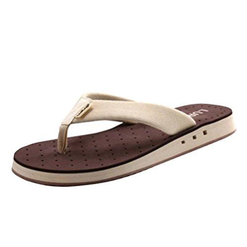 Toe Breathable Casual Beach Post Coffee Flops Flip Baymate Sandals Men'S HnYgHR