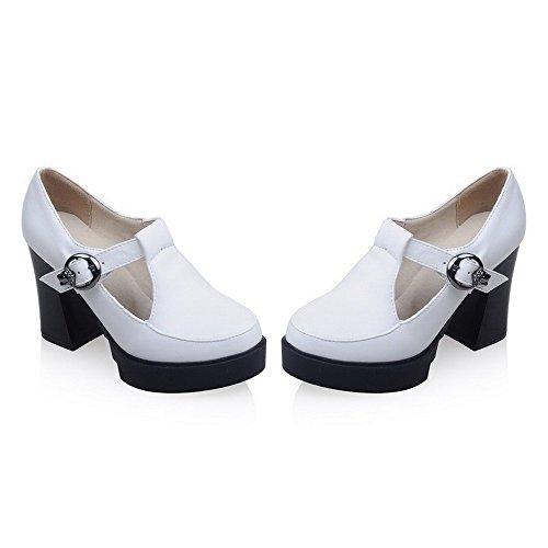 AllhqFashion Damen Schnalle Hoher Absatz PU Rein Rund Zehe Pumps Schuhe Weiß