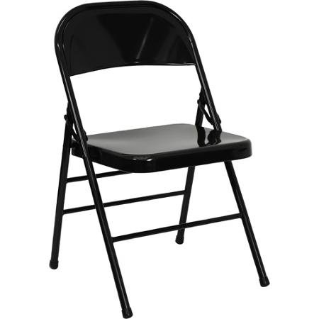 Portable and Lightweight Hercules Double Hinged Metal Folding Chair with Triple-Braced Frame - 4-Pack, Black