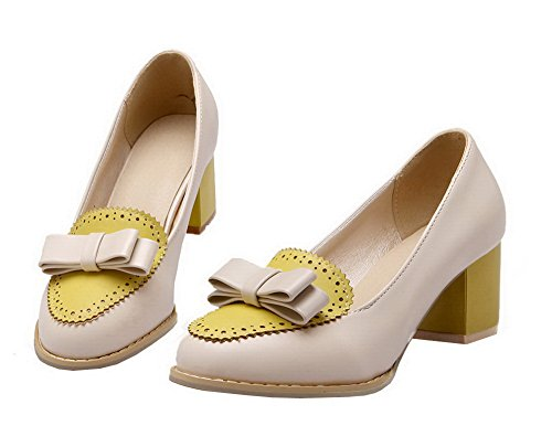 Amoonyfashion Da Donna Colore Assortito Pull-on Gattino-tacco Pompe-scarpe Giallo