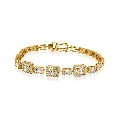14K Gold Plated Round & Baguette Shape Natural Diamond Halo Link bracelet (1.64 Ct)