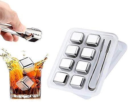 Whisky de Acero Inoxidable, TOCYORIC Reutilizables Cubitos Hielo Acero Inoxidabl, Alta Tecnología de Refrigeración - Whisky Stones Gift Set