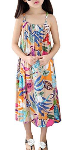 LISASTOR Baby Kid Girl Summer Dress Cute Print Sleeveless Beach Sundress (140cm For 5-6Years, Apricot) by LISASTOR