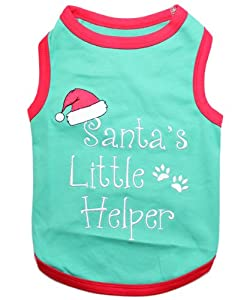 """"""" SANTA'S LITTLE HELPER """" - Embroidered Pet Dog Shirt - All Sizes from Perisian Pet"""