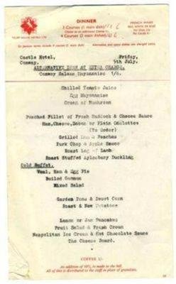 1950's Hotel (Castle Hotel Conway Menu 1950's Wales Trust House Hotel England)