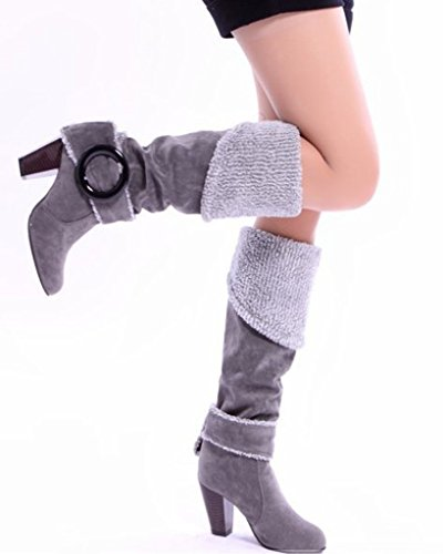 Chunky Boots Alto Otoño Mujer Botas Botas Minetom Rodilla Heel Invierno Tacón Gris Hebilla Biker wYRqI