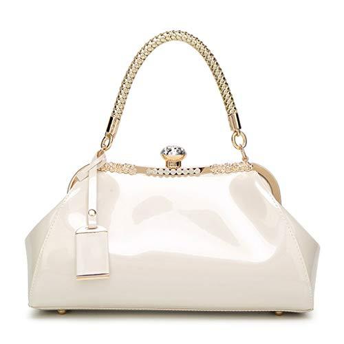 Kofun Women Handbag Shoulder Messenger Satchel Crossbody Ladies Tote Bag Patent Leather Evening Clutch Purse White