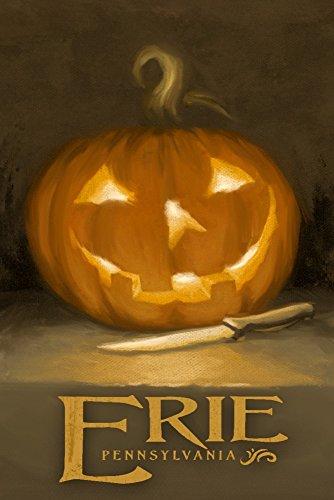 Erie, Pennsylvania - Jack-O-Lantern - Halloween Oil Painting ( Gallery Print, Wall