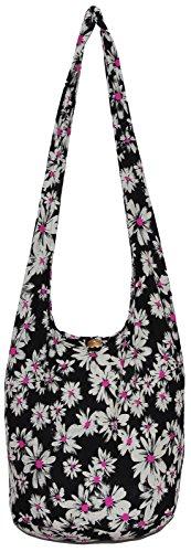 Black Flower Bohemian Hippie Hipster Hobo Boho Crossbody Shoulder Bag Daisy (Pink) by All Best Thing