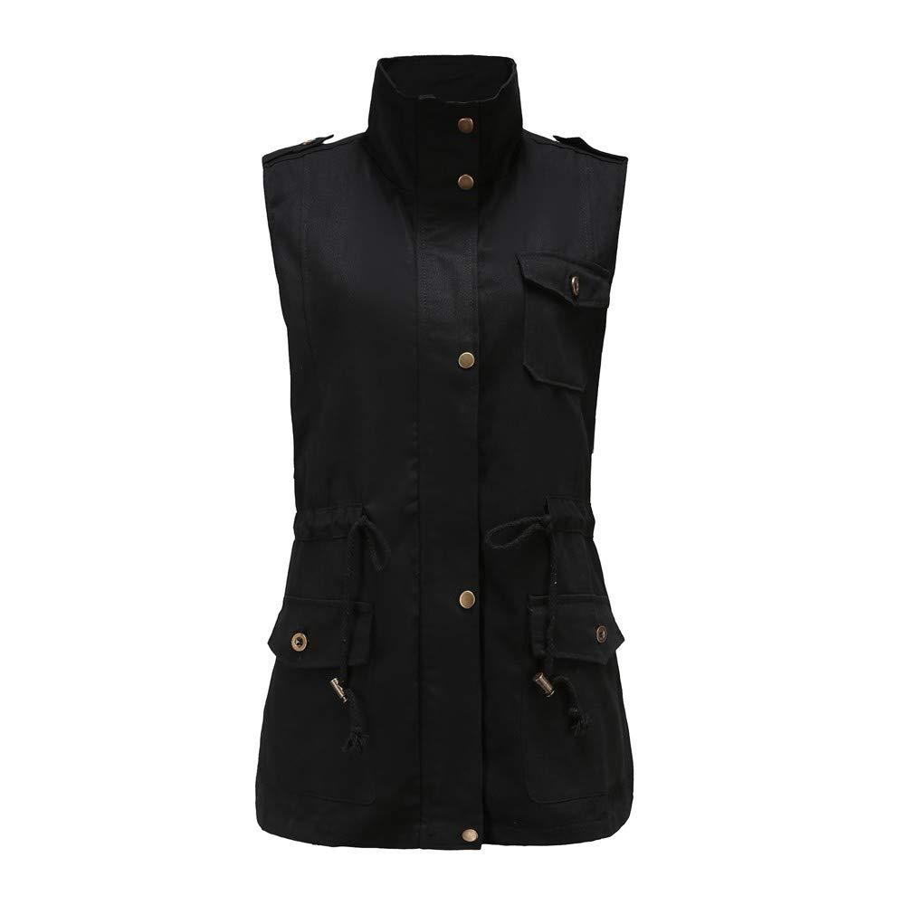 Pervobs Women Sleeveless Coat Vest Thicker Button Pocket Outwear Jacket Overcoat