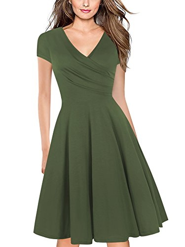 oxiuly Women's V-Neck Cap Sleeve Floral Casual Work Stretch Swing Dress OX233 (XL, Army Green)]()