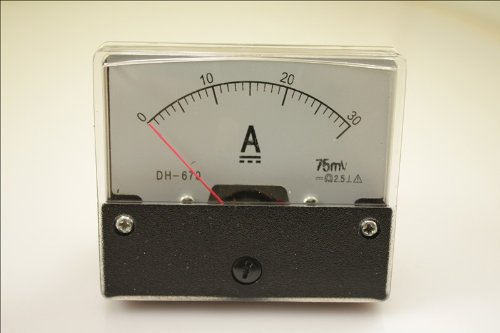 1pcs 670 30A Analog Amp Panel Meter Current Ammeter DC 0-30A + Shunt