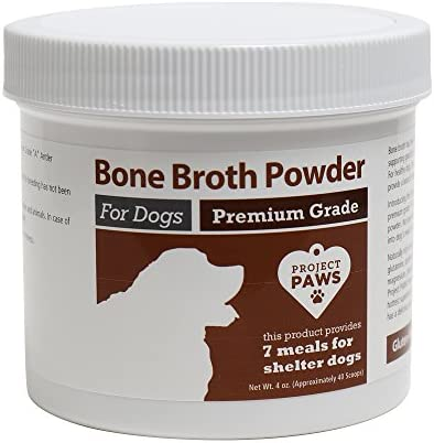 Project Paws Bone Broth for Dogs with Powdered Elk Antler and Bone – Collagen and Mineral Rich Food Topper for Dogs – Whole Food Superfood Powder Multivitamin for Dogs – 4 oz
