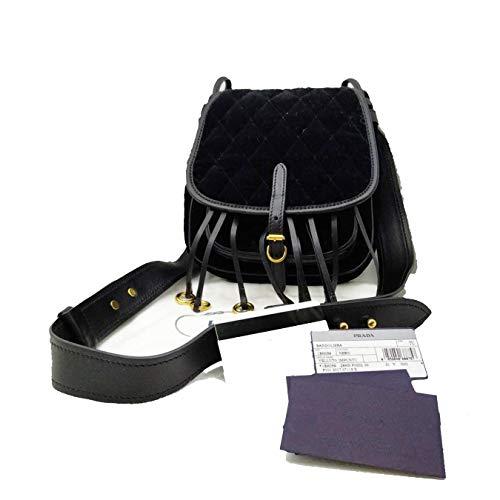 Prada Velluto Impuntu Bandoliera Quilted Black Velvet Handbag 1BH059 (Handbag Prada Black Quilted)