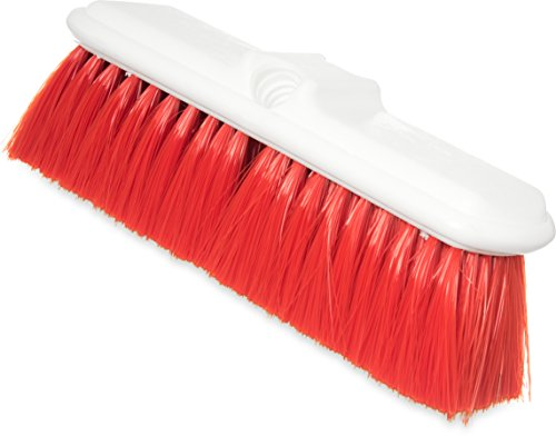 Carlisle 4005005 Plastic Block Flo-Thru Brush, Flagged Nylex Bristles, 9-1/2'' Overall Length x 3'' Width, 2-1/2'' Bristle Trim, Red (Case of 12) by Carlisle