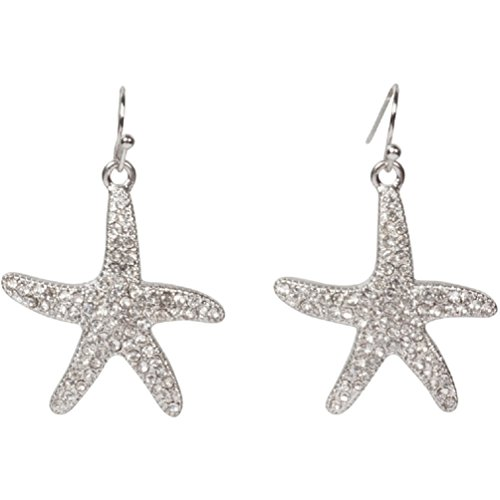Heirloom Finds Sparkling Crystal Pave Starfish Earrings in Silver Tone