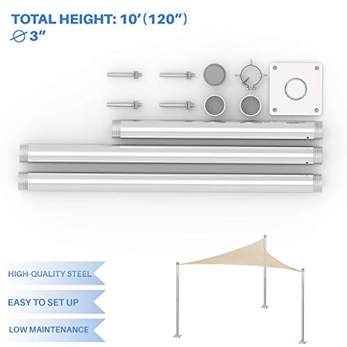 E&K Sunrise Sun Shade Sail Metal Pole Stand Post Heavy Duty Awning Canopy Support Poles φ3'' Fence Post Galvanized Steel Pole 10' Feet Tall (120