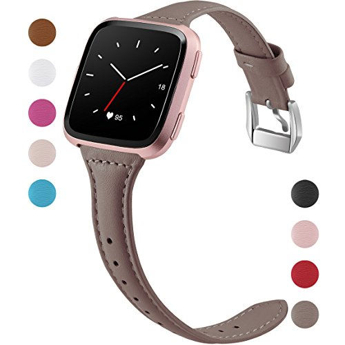 Maledan Bands for Fitbit Versa, Slim Genuine Leather Watch Bands Replacement Strap Accessories for Fitbit Versa Smart Watch, Women Men, Large, Taupe