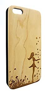 Genuine Maple Wood Organic Girl with Butterflies Snap-On Cover Hard Case for iPhone 5C