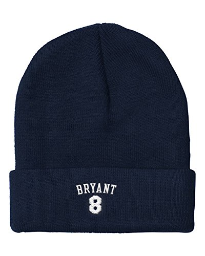 Unique-cap Kobe 8 Number Forever Bryant Retirement White Embroidery Skull Beanie Knit Cap Hat Navy