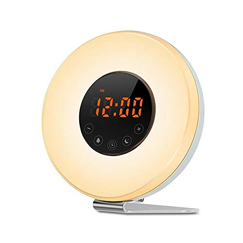 Wake Up Light Sunrise Alarm Clock with 7 Colors Night Light and Touch Control, FM Radio for Heavy Sleepers by Nigecue