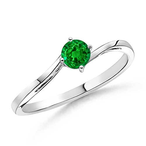 Classic Twist Shank Round Solitaire Emerald Ring in Platinum (4mm - Ring Twist Shank