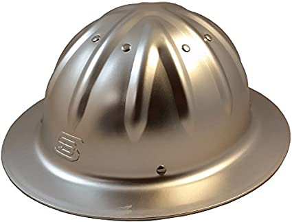 Skull Bucket Aluminum Hard Hats, Full Brim with Ratchet Suspensions Silver, One Size Fits Most