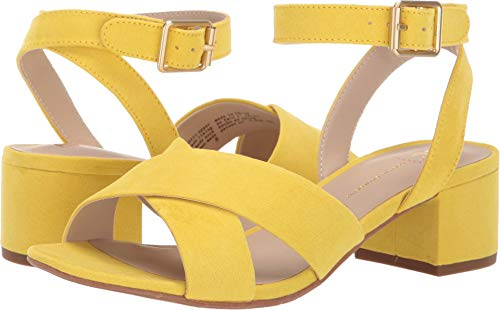 BC Footwear Women's Smell The Roses Heeled Sandal, Yellow, 6.5 Medium US