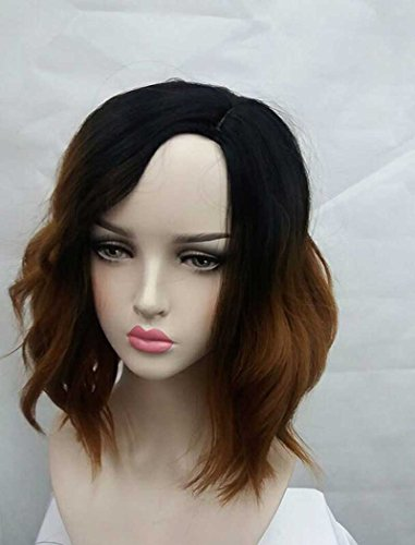 Tsnomore Chic Shoulder Length Halloween Cosplay Culry Bob Women Wig (Brown Ombre) (Color Wig)