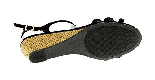 Schwarz 8 Schwarz Größen Keilabsatz Sandalen 3 Zaira Platino mit Damen UK HvxqXa7Bw