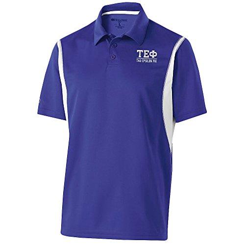 (Greekgear Tau Epsilon Phi Fraternity Integrate Polo Large Purple/White)