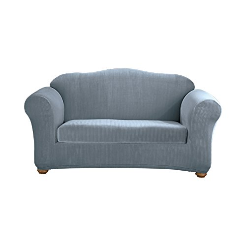 Sure Fit Stretch Pinstripe 2-Piece - Loveseat Slipcover  - French Blue (SF35834)
