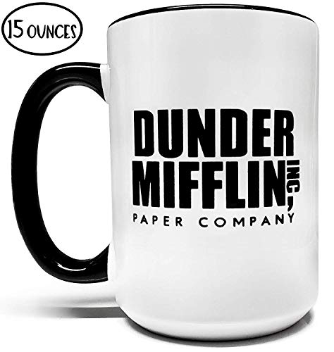 Dunder Mifflin Inc.15oz Grade A Quality Two Tone Ceramic Mug/Cup - Inspired by The Tv Show The Office - Foam Box Protection (Perfect Funny Gift)