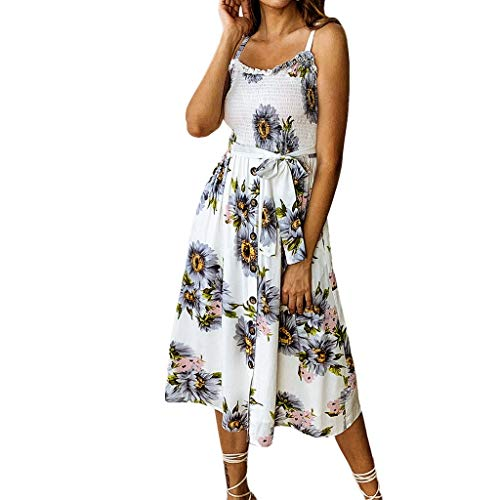 Chaofanjiancai Women's Dresses - Summer Boho Dress Floral Print Button Down A-Line Midi Dress with Belt and Pockets Gray