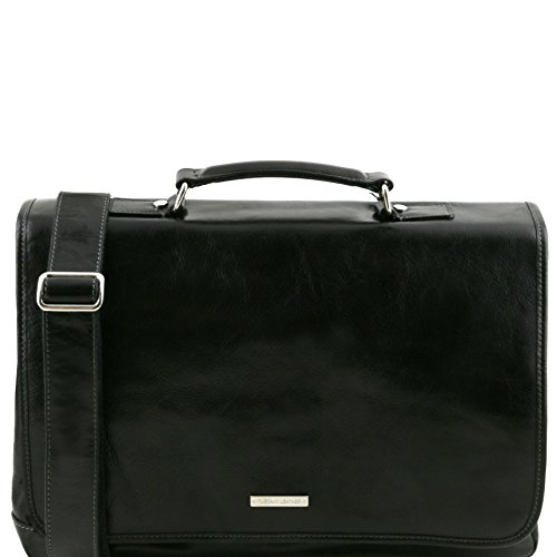 81414504 - TUSCANY LEATHER: MANTOVA - TL SMART Multifach-Aktentasche aus Leder mit Klappe, Schwarz