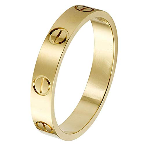 SHIRIA Love Rings Lifetime Promise with Screw Design Best Gifts for Love with Valentine's Day Promise Engagement Wedding (Gold, 11)