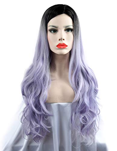 SEIKEA 30'' Long Wavy Wig Cosplay Costume Part Side for Women Black Root Natural Hair Night Party Makeup - Light Purple White Ombre