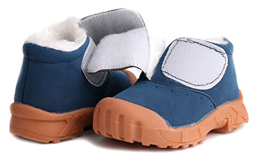 Pictures of LONSOEN Toddler Winter Snow Boots for Boy Girl Outdoor Waterproof Booties with Fur Lined, Blue, BAY003 CN22 5