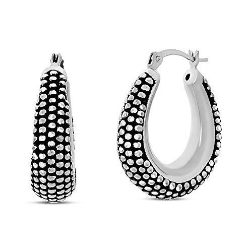 (WILLOWBIRD Beaded Texture Oval Black Hoop Earrings for Women In Oxidized 925 Sterling Silver )
