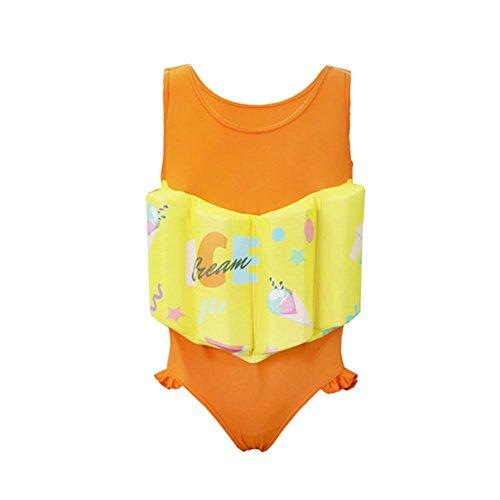 HnjPama Kid's Orange Floatation Swimsuits Swim Vests Life Jackets & Vests with Adjustable Buoyancy for 2-8 Years Baby Girl -XXS